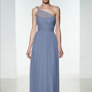 Amsale Dusty blue one shoulder tier dress